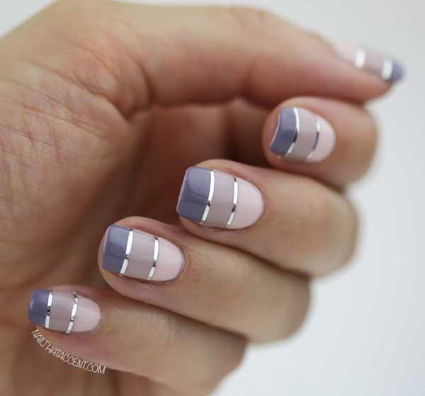 Manicure Ombre en bloque con cinta de separación