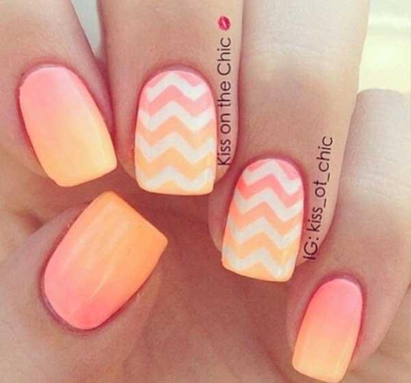 Manicure Ombre en mandarina