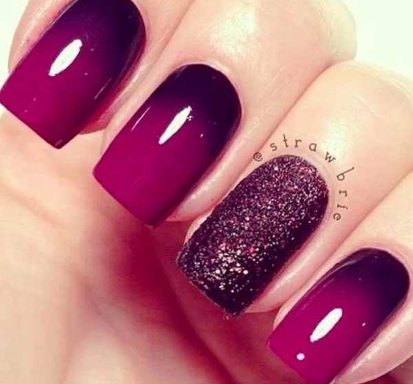 Manicure Ombre en purpurina